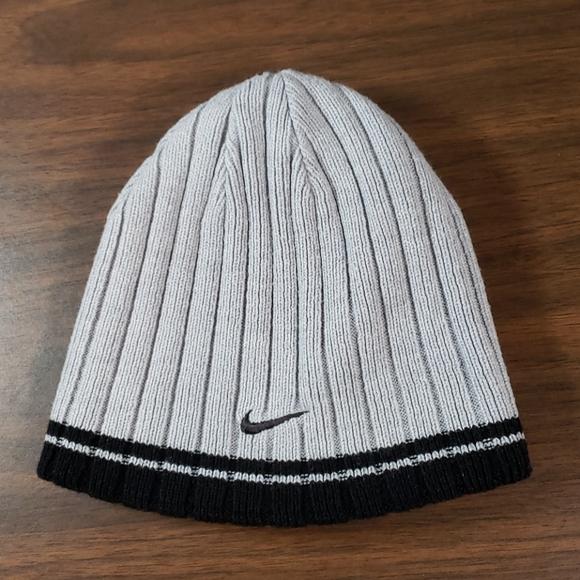 Reversible Nike Beanie Knit Hat Grey Black